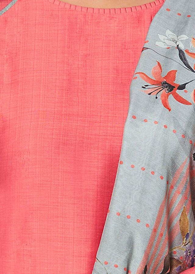 Fandango Pink Suit Set In Cotton With Grey Straight Cut Pants And Printed Dupatta Online - Kalki Fashion