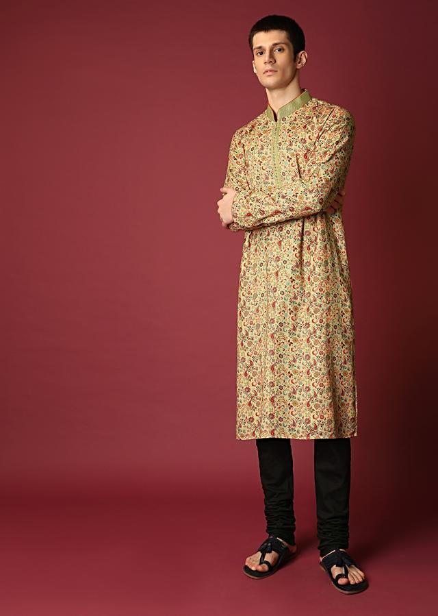Fawn Beige Kurta Set In Suiting Fabric With Paisley Printed Jaal All Over Online - Kalki Fashion