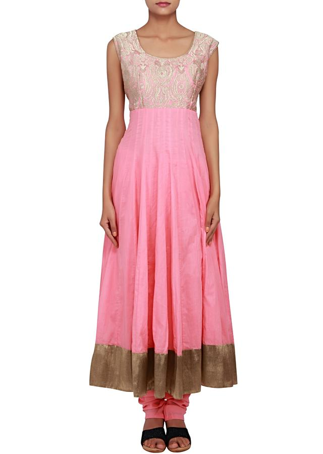 Featuring a baby pink anarkali in cotton silk embellished in zari only on Kalki