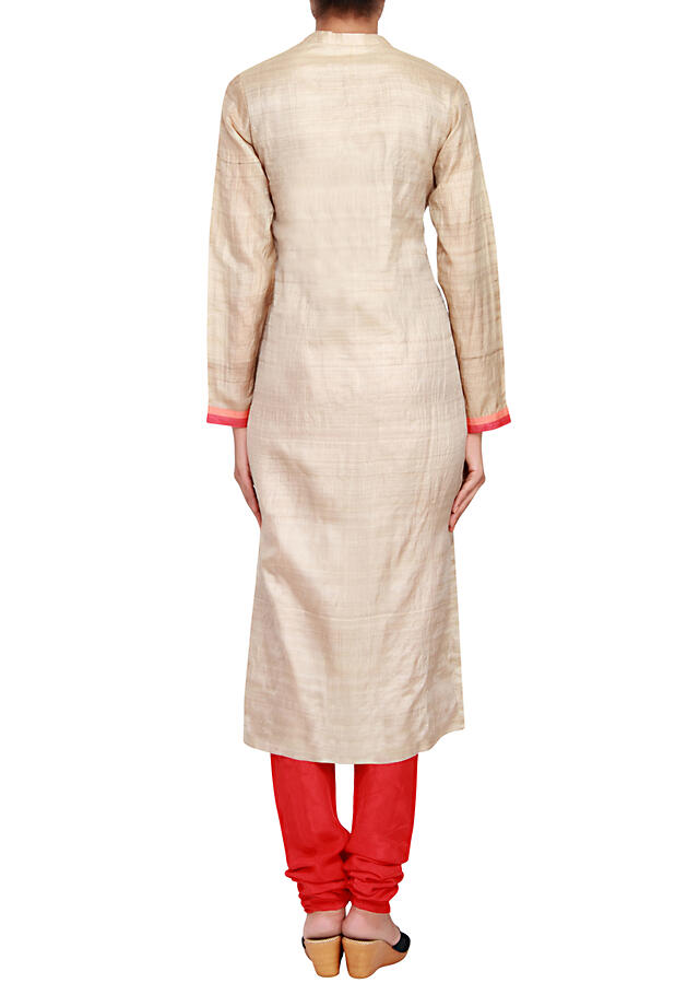 Featuring a beige silk straight fit suit embellished in red resham only on Kalki
