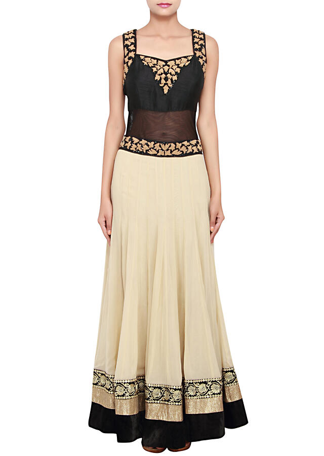 Featuring a black and beige georgette anarkali embellished in french knot and sequence only on Kalki