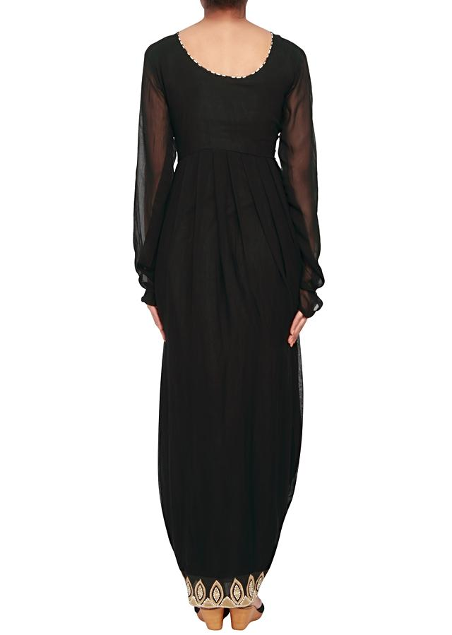 Featuring a black dhoti-salwar with cowl drape in georgette only on Kalki