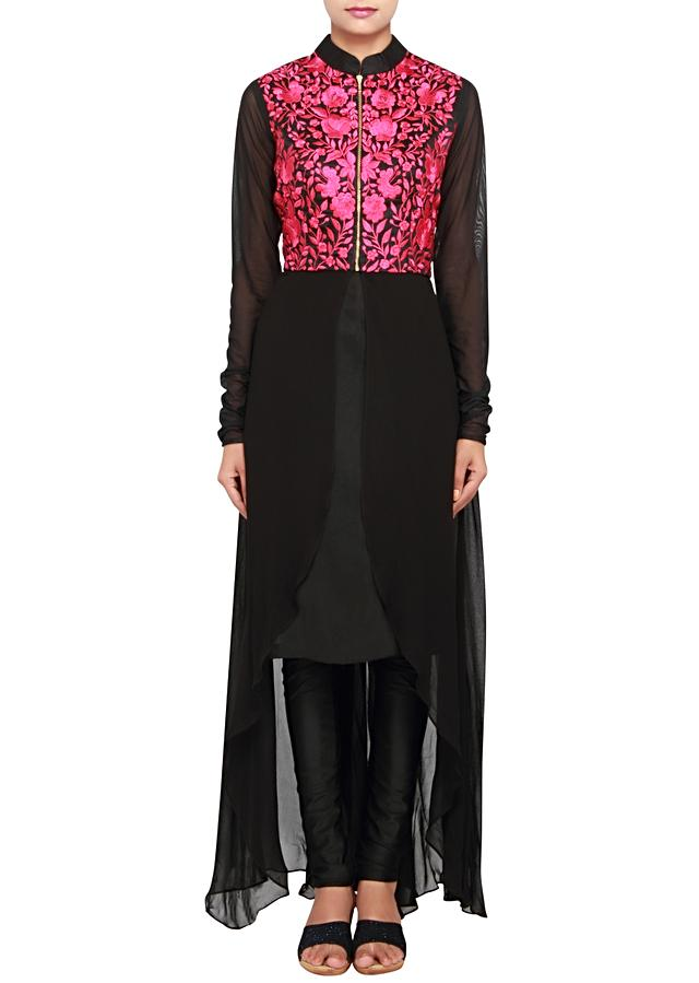 Featuring a black georgette a-symetrical suit embellished in fushia thread work only on Kalki