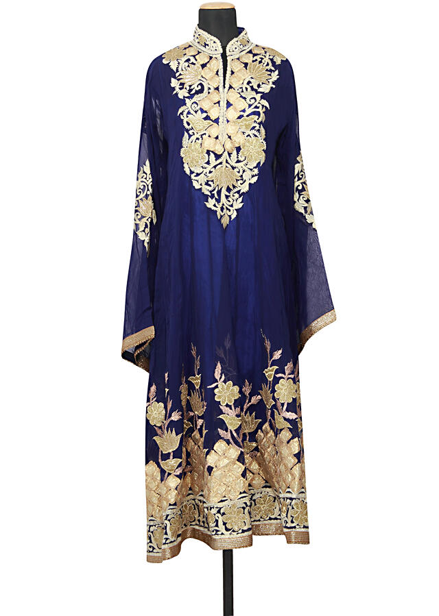 Featuring a georgette navy blue semi stitched anarkali embellished in zari, resham and gotta patti only on Kalki