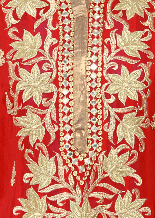 Featuring a georgette scarlet red  straight cut semi stitched salwar kameez embellished in zari and mirror work only on Kalki