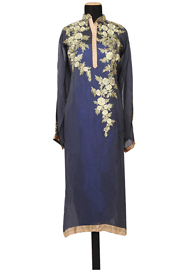 Featuring a grey georgette straight cut semi stitched salwar kameez embellished in resham embroidery only on Kalki
