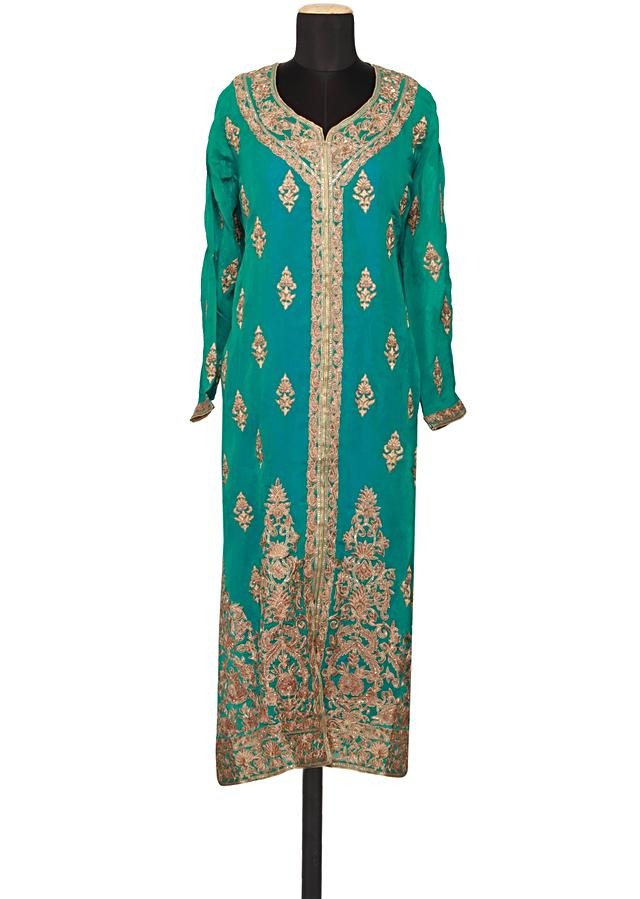 Featuring a kelly green georgette straight fit semi stitched salwar kameez embellished in zari only on Kalki