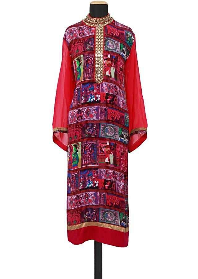 Featuring a multi coloured printed crepe straight cut semi stitched salwar kameez embellished in mirror work only on Kalki