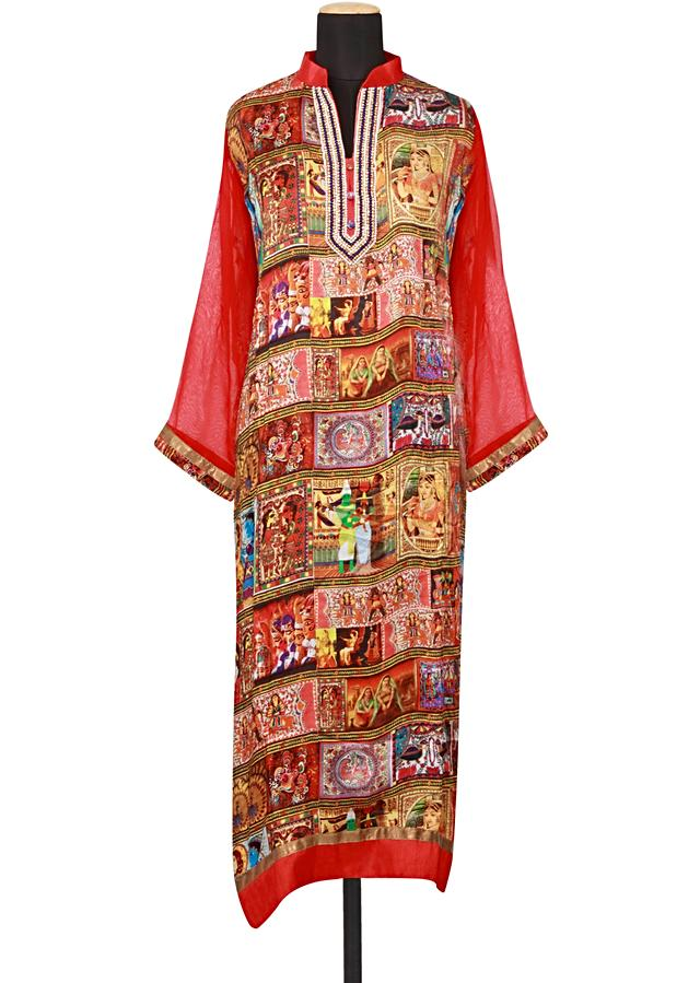 Featuring a multi coloured printed straight fit semi stitched salwar kameez embellished in stone and pearl only on Kalki
