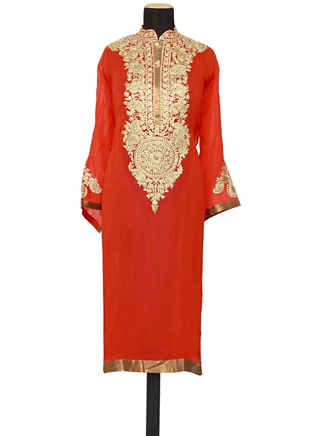Featuring a orange georgette straight cut semi stitched salwar kameez embellished in zari embroidery only on Kalki