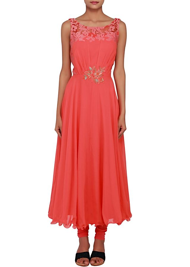 Featuring a peach anarkali in georgette embellished in patch embroidery only on Kalki