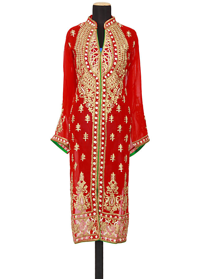 Featuring a red georgette straight fit semi stitched salwar kameez embellished in embossed zari and kundan only on Kalki