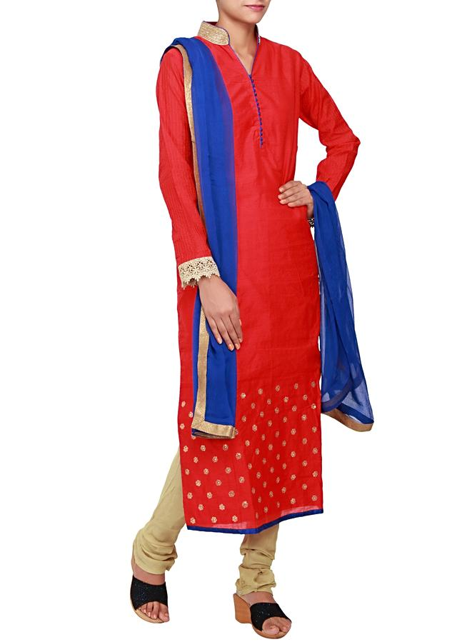 Featuring a red silk straight fit suit embellished in sequin only on Kalki