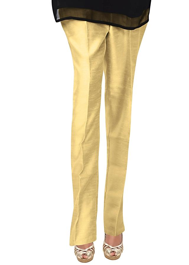 Gold Pants In Silk Fabric Online - Kalki Fashion