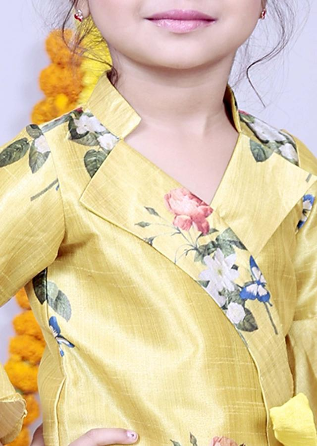 Featuring Green Yellow Layered Palazzo Set With Printed Blouse Online - Kalki Fashion