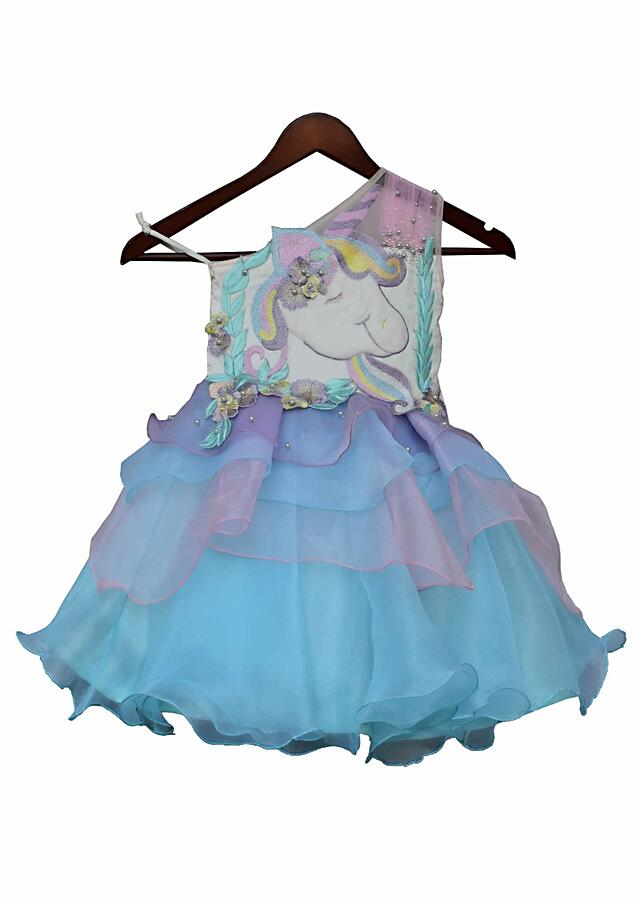 Featuring multi color unicorn dress in oraganza by Fayon Kids