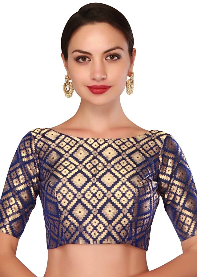 Featuring navy blue blouse in brocade silk only on Kalki
