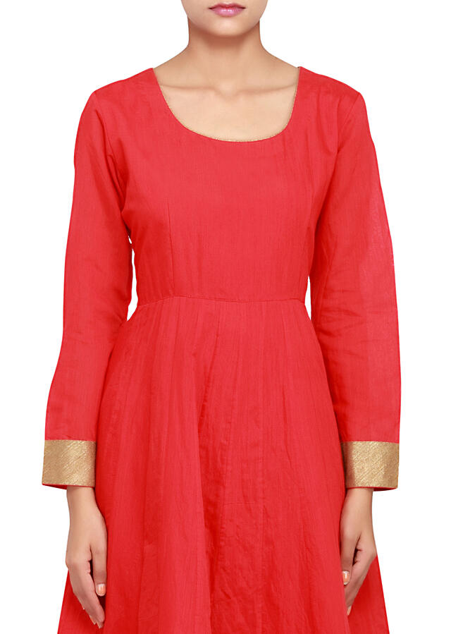 Featuring red anarkali in cotton silk with blue jacket only on Kalki