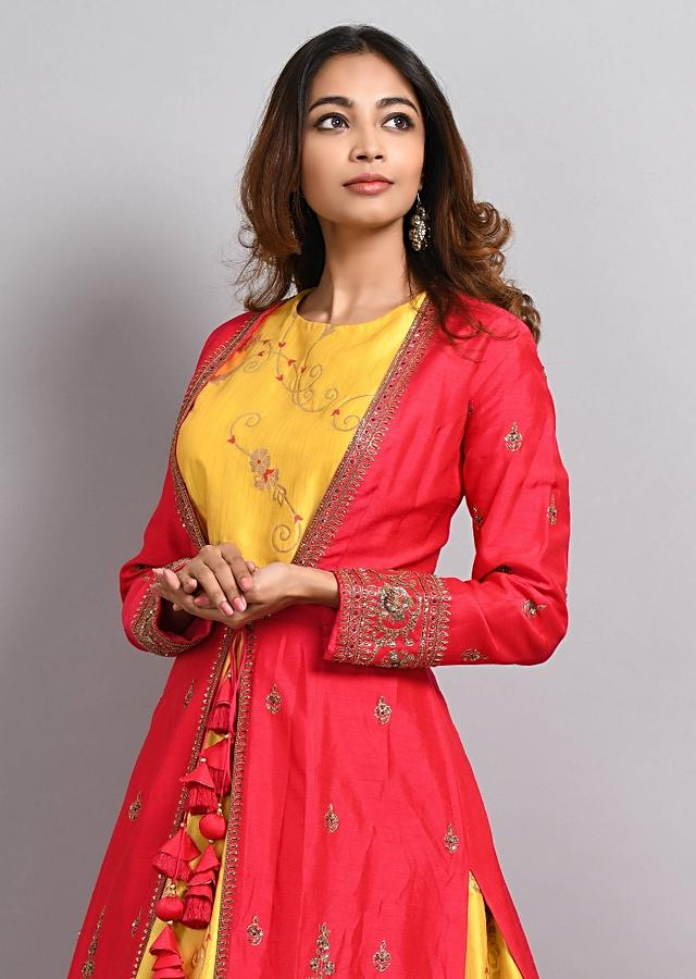 Yellow Anarkali Matched With Cherry Pink Embroidered Jacket Online - Kalki Fashion