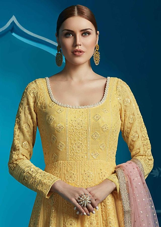 Yellow Anarkali Suit Embellished In Thread And Moti Embroidery Online - Kalki Fashion