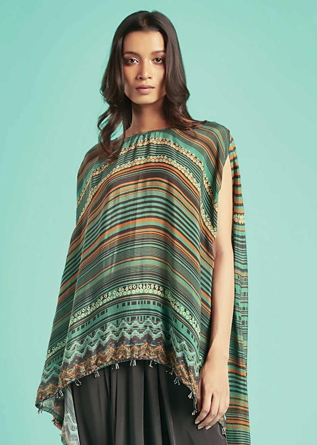 Fern Green Cape Top With Printed Stripes And Tribal Pattern And Grey Low Crotch Pants Online - Kalki Fashion