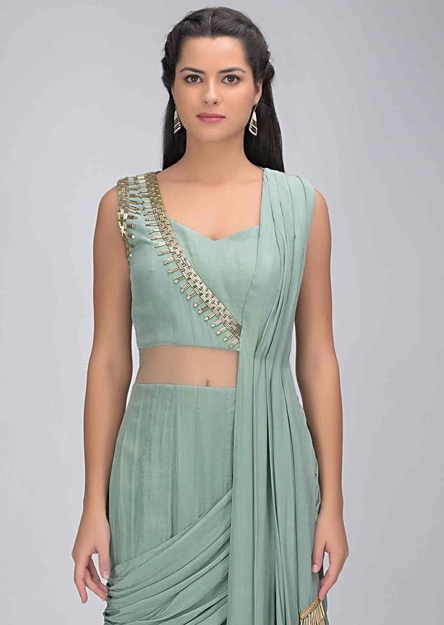 Fern Green Gown In Crepe With Attached Dupatta Online - Kalki Fashion