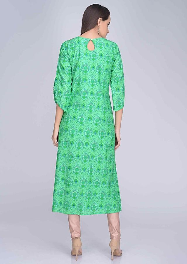 Fern Green Kurta In Embroidered Cotton Silk With Digital Print Online - Kalki Fashion