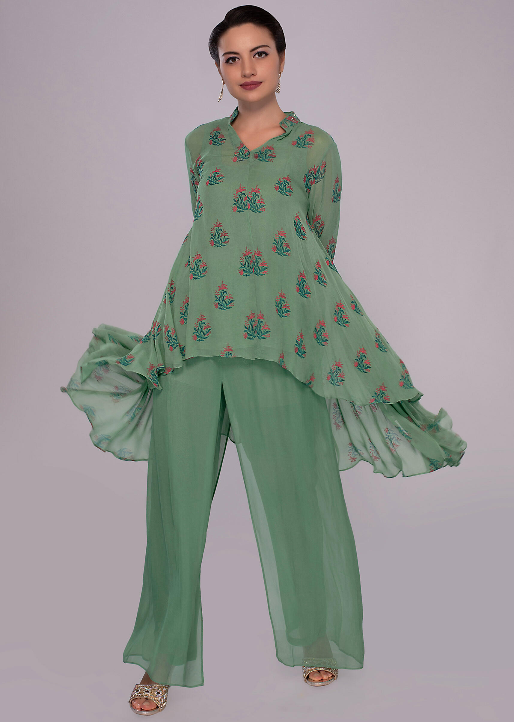 dbfd9d80d1880 Fern green front short back long flared suit with matching georgette palazzo  only on Kalki