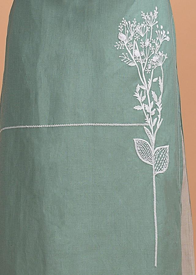 Fern Green Palazzo Suit In Jute Cotton With Floral Printed Dupatta Online - Kalki Fashion