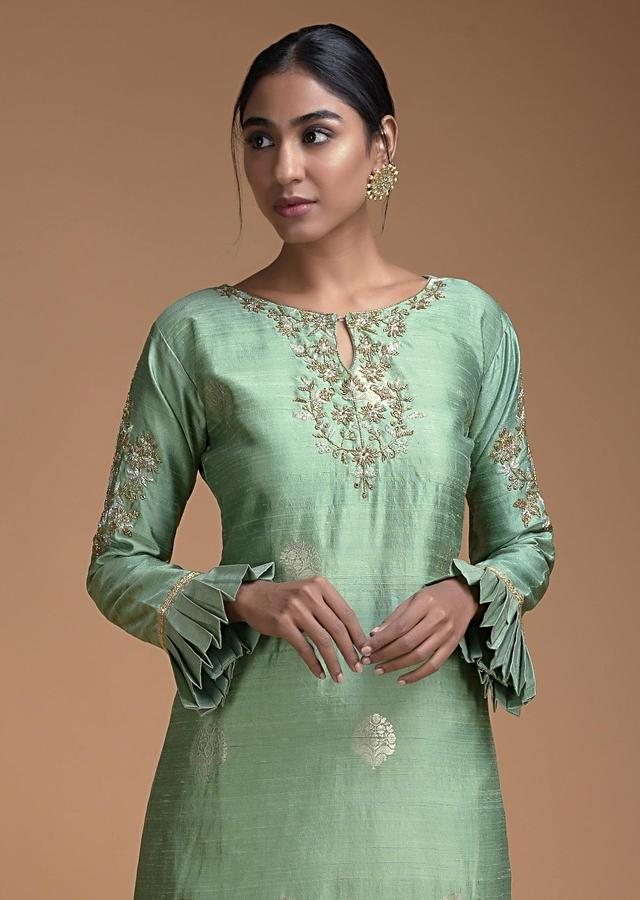 Fern Green Palazzo Suit With Pleated Frill Details And Floral Embroidery Online - Kalki Fashion