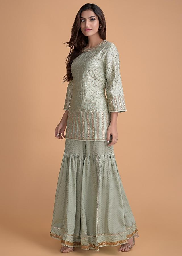 Fern Green Sharara Suit In Cotton With Gotta Patches And Zari Work Online - Kalki Fashion
