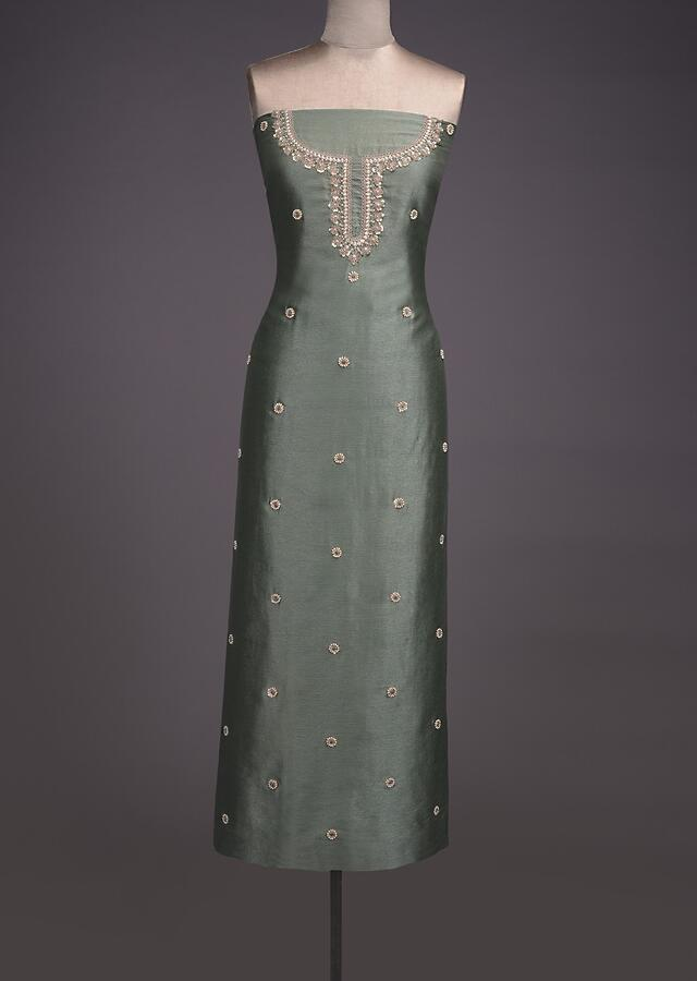Fern Green Unstitched Suit With Pearls, Zari And Thread Embroidered Floral Buttis Online - Kalki Fashion