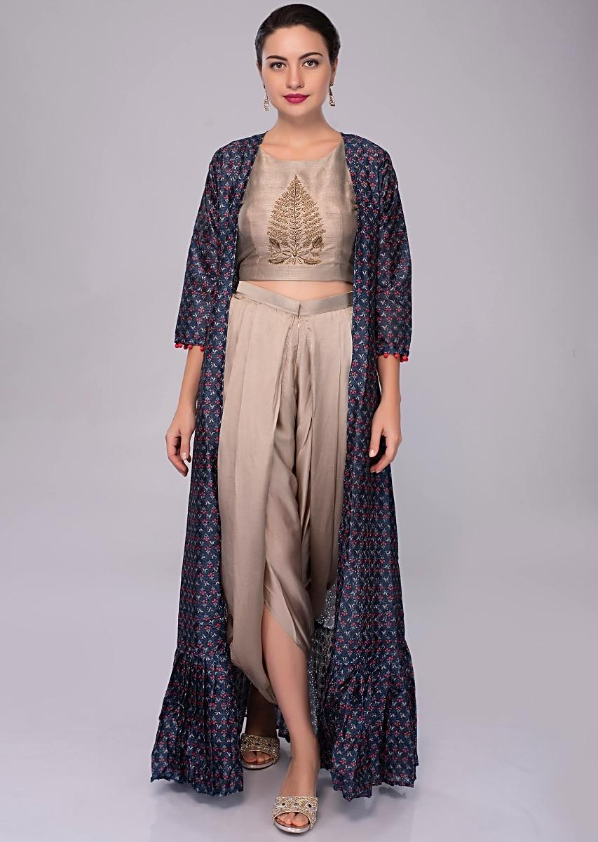 3336c61be79ee Fern grey embroidered crop top and dhoti pant with dark cobalt blue  jacquard jacket only on Kalki