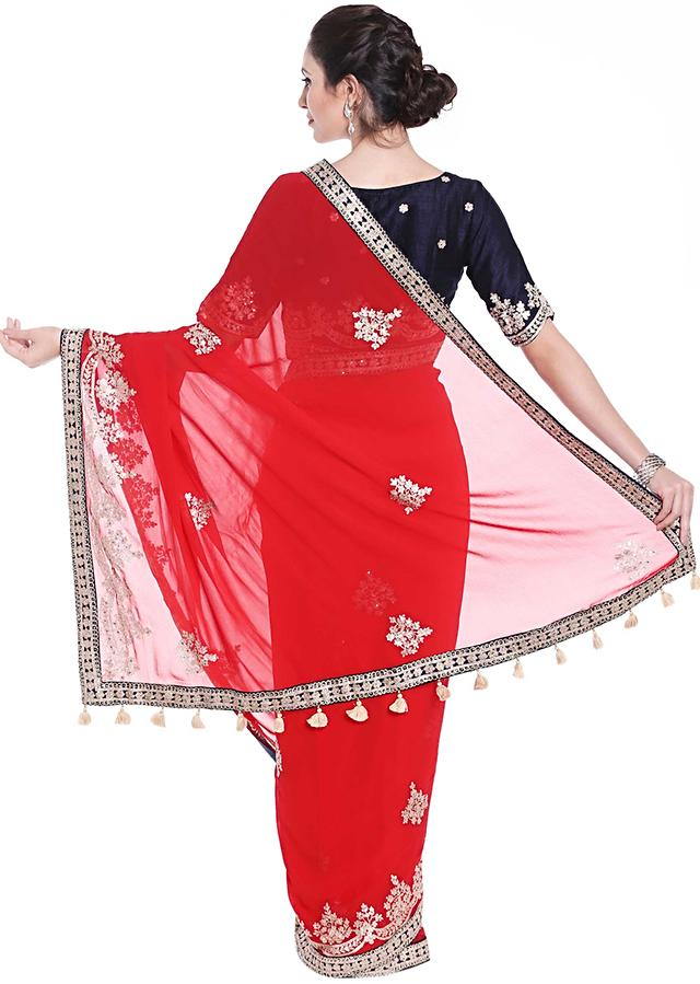 Ferry Red Embroidered Saree With Fancy Tassel And Ready Embroidery Online - Kalki Fashion