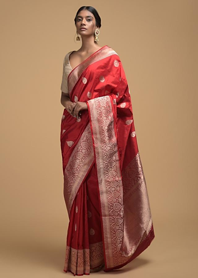 Fiery Red Pure Handloom Saree In Silk With Woven Leaf Shaped Buttis And Floral Border Online - Kalki Fashion
