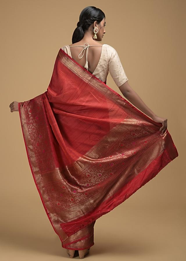 Fiery Red Pure Handloom Saree In Tussar Silk With Woven Stripes And Floral Border Online - Kalki Fashion