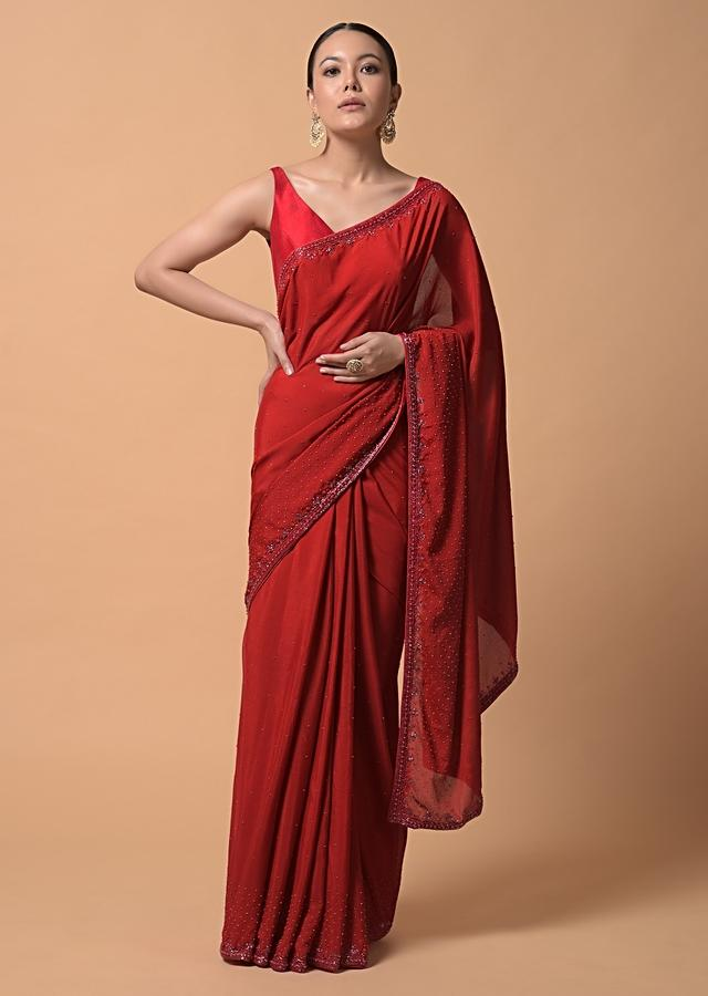 Fiery Red Saree In Chiffon With Scattered Moti Beads And Cut Dana Embellished Border Online - Kalki Fashion