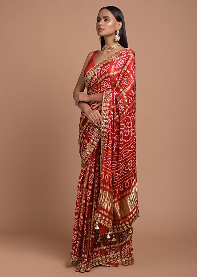 Fiery Red Saree In Cotton With Bandhani All Over And Woven Zari Checks Online - Kalki Fashion