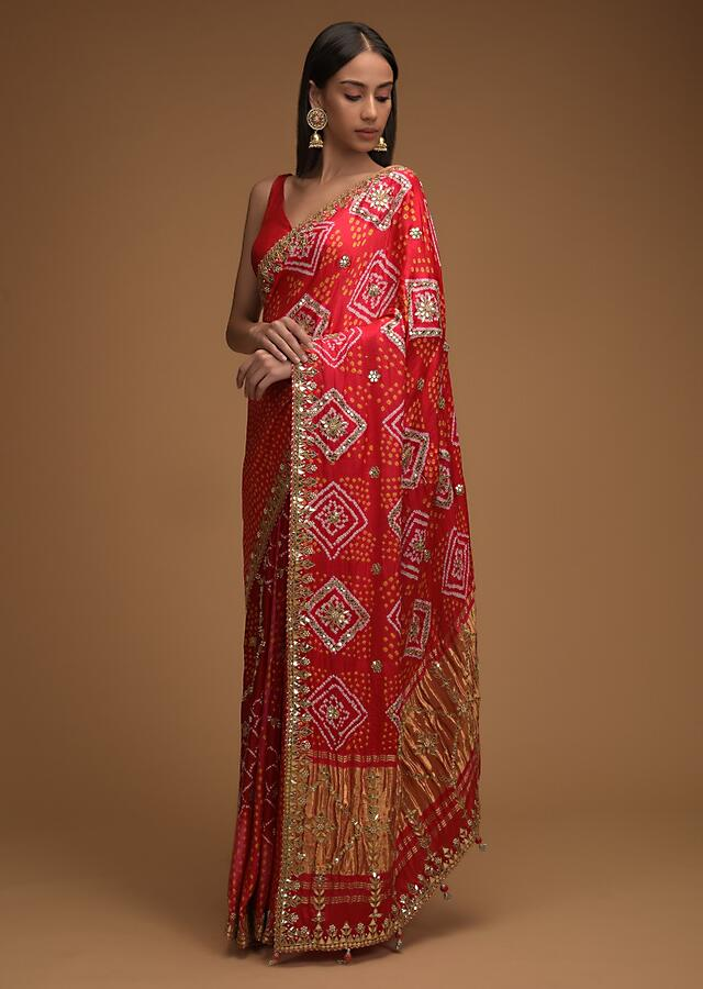 Fiery Red Saree With Bandhani Print And Gotta Work Along With Unstitched Blouse Online - Kalki Fashion