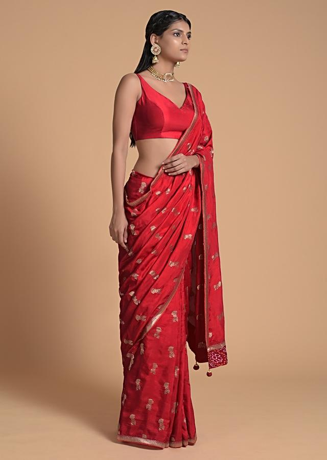 Fiery Red Saree In Dola Silk With Brocade Floral Buttis And Bandhani On The Pallu Online - Kalki Fashion