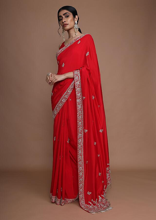 Fiery Red Saree In Dupion Silk With Zardozi Embroidered Buttis And Floral Border Online - Kalki Fashion