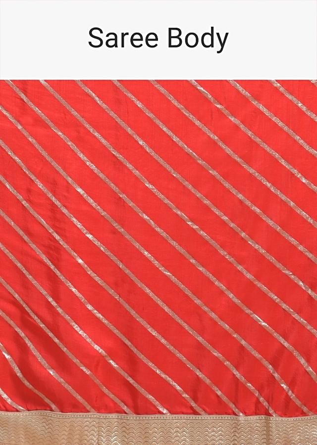 Fiery Red Saree In Faux Silk With Brocade Stripes And Gotta Patti Accents Online - Kalki Fashion