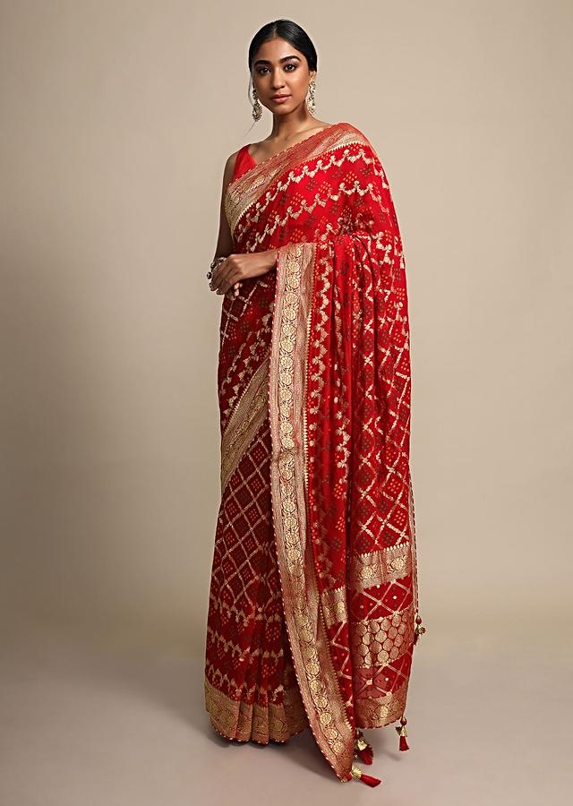 Fiery Red Saree In Georgette Adorned With Bandhani And Woven Mesh Design Online - Kalki Fashion