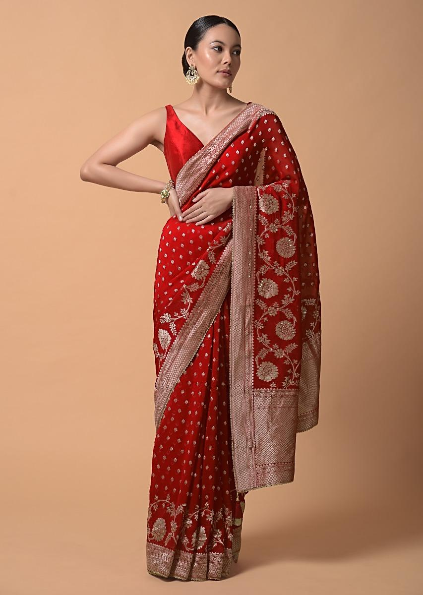 Fiery Red Saree In Georgette With Brocade Buttis And Floral Border Online - Kalki Fashion