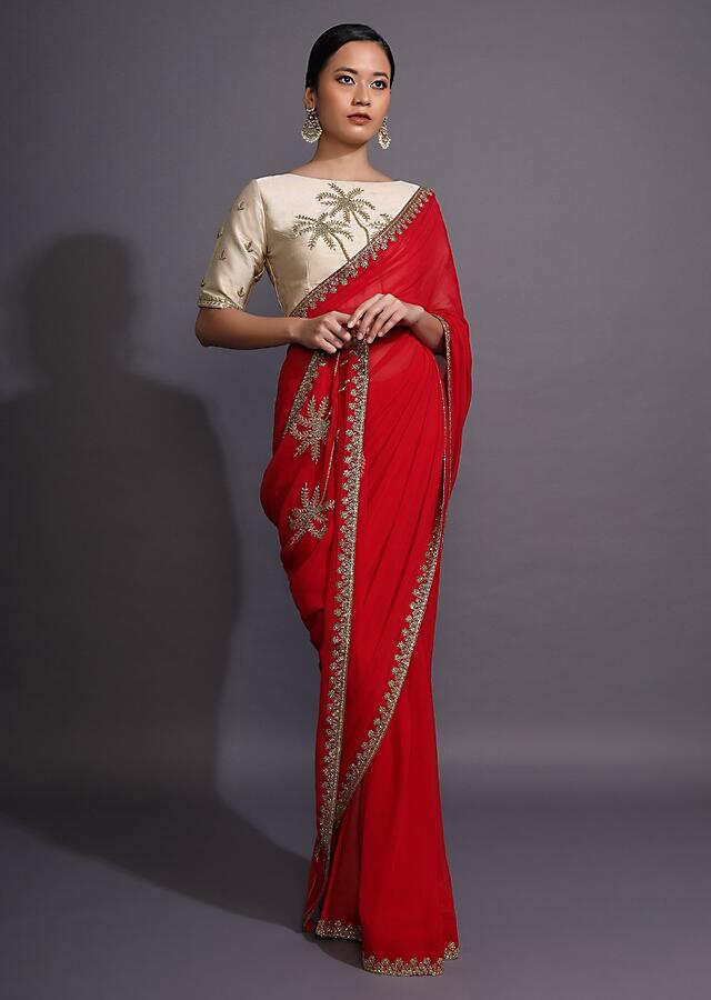 Fiery Red Saree In Georgette With Cut Dana Embellished Border And Palm Tree Motifs On The Pallu Online - Kalki Fashion