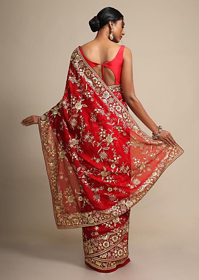 Fiery Red Saree In Georgette With Resham Embroidered Floral Jaal Online - Kalki Fashion