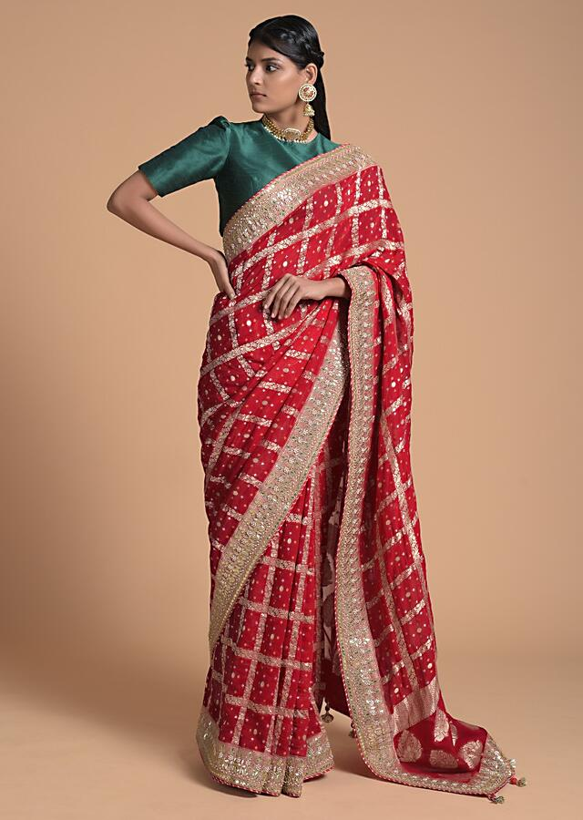 Fiery Red Saree In Georgette With Woven Checks And Bandhani Along With Gotta Patti Border Online - Kalki Fashion