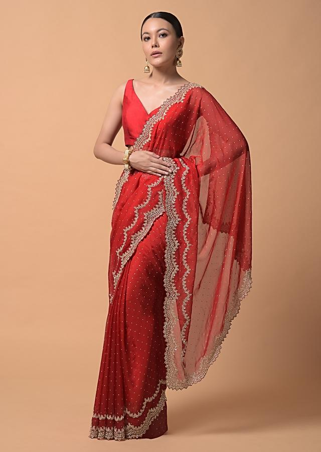 Fiery Red Saree In Organza With Heavy Cut Dana Embellished Border And Foil Printed Dots Online - Kalki Fashion