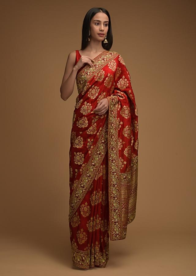 Fiery Red Saree In Silk With Woven Floral Buttis And Cut Dana Accents Along With Unstitched Blouse Online - Kalki Fashion