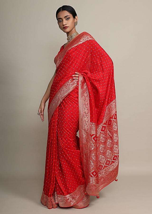 Fiery Red Saree With Bandhani Print All Over And Floral Weave Border Online - Kalki Fashion